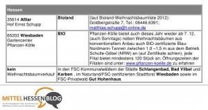 Werkstattbericht: Wunderbare Mär vom Bioland-Öko-Weihnachtsbaum in Mittelhessen stillschweigend korrigiert