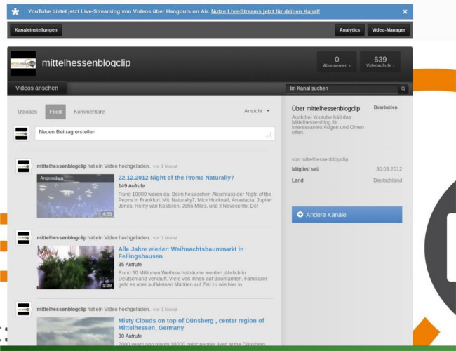 Mittelhessenblogclip heißt der Youtubekanal des Mittelhessenblog