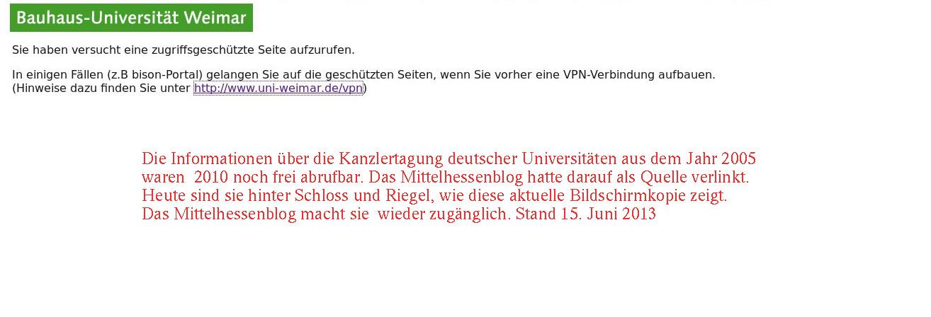 Transparenz Fehlanzeige. Tagungsunterlagen der Unikanzler sind nur gegen Erlaubnis zu sehen. Quelle: Server Uni Weimar. Bearbeitung: Mittelhessenblog.de
