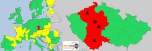 14.30 Uhr, 7. Juni: Noch herrscht über den Hochwassergebieten in Deutschland stabiles Wetter, während sich in der Tschechei schon ein neues Unwettergebiet ausgebildet hat und eine neue Front sich aus Frankreich auf den Weg macht. Bildquelle: Meteoalarm.eu Bearbeitung Mittelhessenblog.de