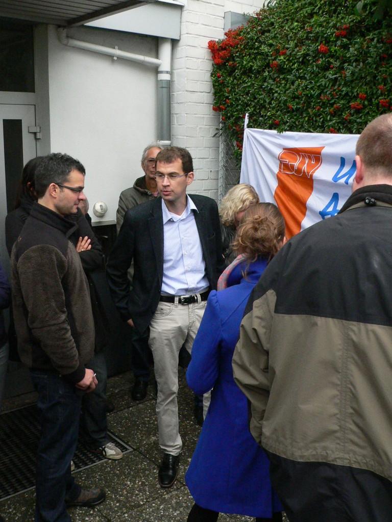 """Chefredakteur Christoph Linne (m.) hält die Aktion der  protestierenden OP-Redakteure zwar für """"legitim"""". Näheres zum Thema könne er """"in diesem Rahmen"""" nicht sagen."""