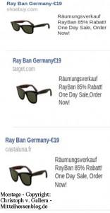 Mittelhessen aufgepasst: Unseriöse Ray Ban-Anzeigen bei Facebook sind eine Falle aus China