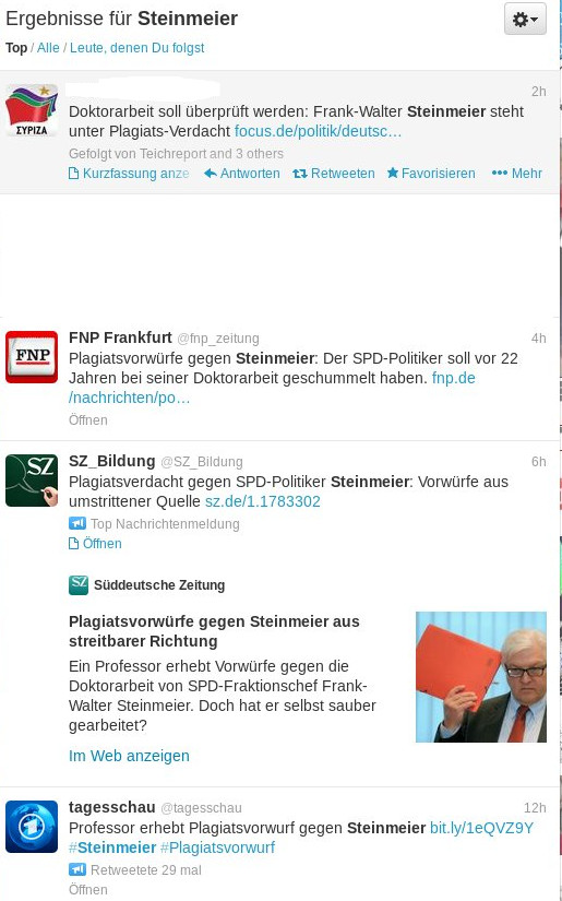 Im Netz, wie etwa im Kurznachrichtendienst Twitter machte die Nachricht über die Plagiatvorwürfe gegen Steinmeier schnell die Runde.