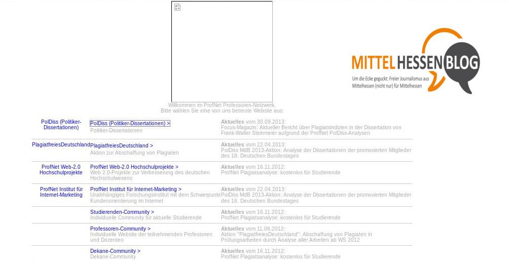 Unter der Last der Zugriffe in die Knie gegangen: Die Website des privaten Profnet-Angebots von Kamenz. Quelle: Profnet: Repro: Mittelhessenblog