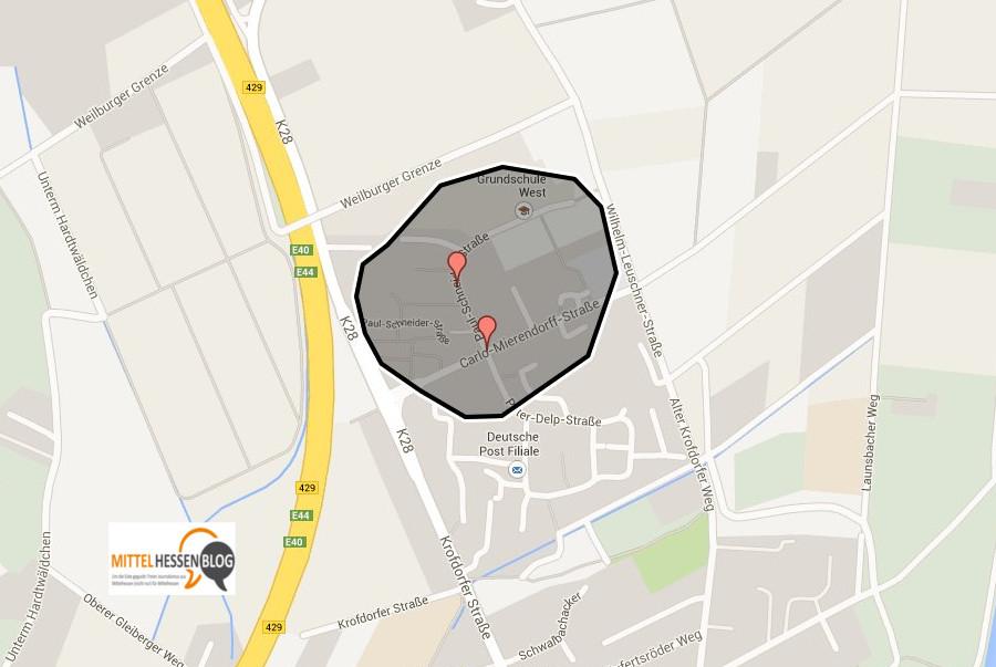 Im Umkreis von 300 Metern mussten die Anwohner der Paul-Schneider-Straße in Gießen wegen eines Bombenfundes evakuiert werden. Quelle: GoogleMaps, Montage: v.Gallera