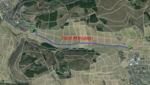 Über den Grüne-Paln-Weg dauert es fünf Minuten. Quelle: GoogleMaps. Bearbeitung: v. Gallera