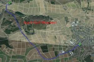 Der normale Weg über die Landstraße zwischen Mudersbach und Erda dauert unter normalen Verhältnissen ebenfalls fünf Minuten.