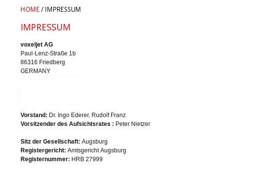 ...ist Voxeljet im bayerischen Friedberg zuhause. Und hat sich seit seinem Bestehen nicht aus Bayern heraus bewegt. /Quelle: Voxeljet. Bearbeitung v. Gallera