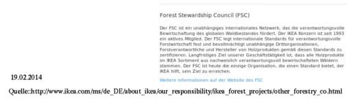 Auf seiner Webseite betont Ikea, wie wichtig der FSC für das Erreichen seiner Ziele ist. Quelle: Ikea, Bearbeitung: Mittelhessenblog