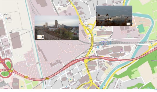 Direkt neben der L 3376, der Hermannsteiner Straße liegt das ehemals Buderus, noch Heidelberg-Cement und bald Ikea-Gelände. In direkter Nachbarschaft zu Bahnhof, Bauhaus und Forum Wetzlar. Karte: OpenstreetMap, Fotos und Montage: Mittelhessenblog.