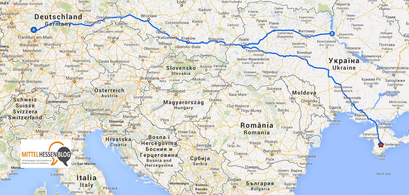 80 Euro oder eine Tagesreise von Mittelhessen entfernt. Die Krisenregion Krim: Quelle: Googlemaps: Montage: Mittelhessenblog