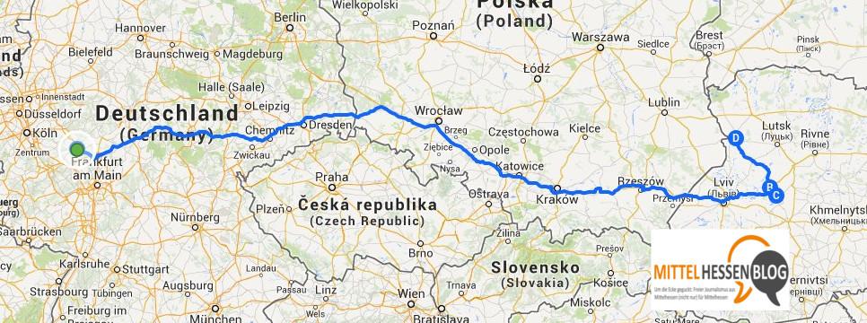 Von Breitscheid soll es am 9. Mai nach Brody, Pidkamin und Volodymyr-Volynsky gehen. Quelle: GoogleMaps. Bearbeitung: Mittelhessenblog