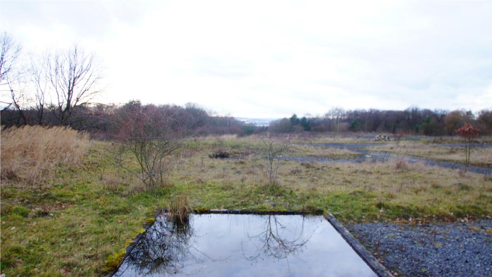Mit der richtigen Perspektive kann auch aus diesem Minisee auf dem Gelände der ehemaligen Patriot-Raketenstellung bei Gießen ein großer See werden.