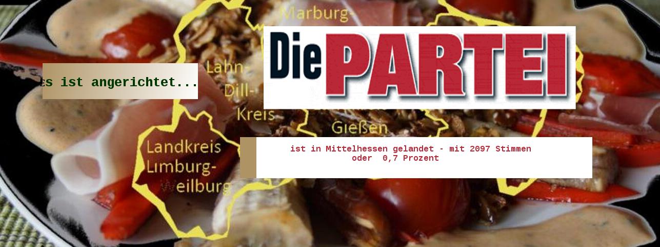 """Die großen Parteien stehen hier definitiv nicht im Mittelpunkt. Sondern """"Die PARTEI"""". Montage und Bild: Mittelhessenblog.de Quelle Logo: Die PARTEI"""