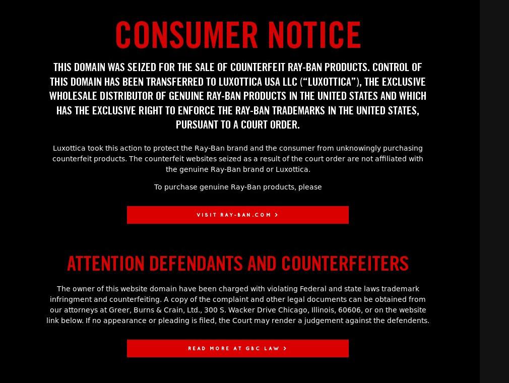 Inzwischen hat der Markeninhaber Luxottica reagiert und die falsche Website geschlossen: Montage: Mittelhessenblog. Quelle: Luxottica/Ray-Ban