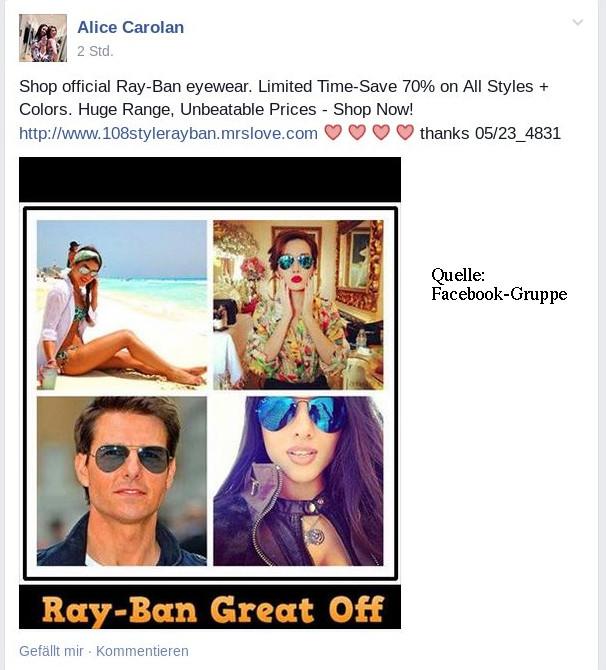 Auch in geschlossene Nutzergruppen findet die falsche Ray-Ban-Werbung ihren Weg. Montage Mittelhessenblog