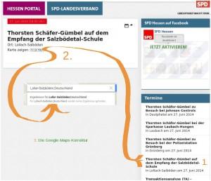 Kurios: Hessen-SPD erfindet auf Website neuen Ort in Mittelhessen und Google-Maps korrigiert