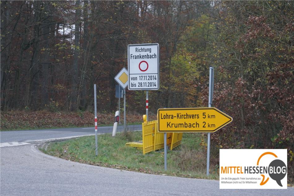 Baustellenankündigung auf der  L3047 am Dünsbergfuß zwischen Fellingshausen und Frankenbach, Landkreis Gießen