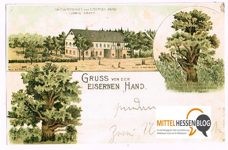 """Auf dieser Postkarte ist die Eiserne Hand noch als Gasthof mit großer Hausdurchfahrt zu sehen. Diese wird zwar nicht geplant. Durchaus aber, dass """"die Hand"""" wir früher ein Zenztrum und Treffplatz für die Menschen aus der Region wird. Repro: Mittelhessenblog"""