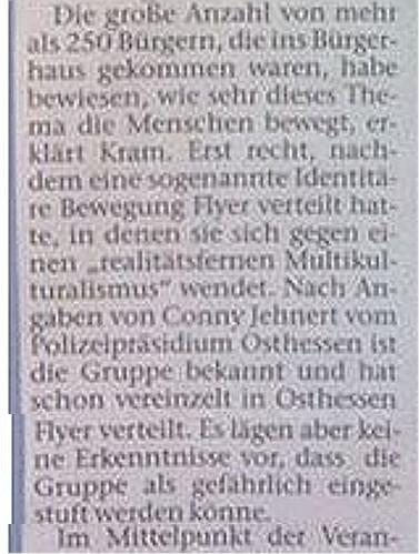 Nach Einschätzung der osthessischen Polizei sind die Identitären nicht gefährlich. Quelle: Fuldaer Zeitung