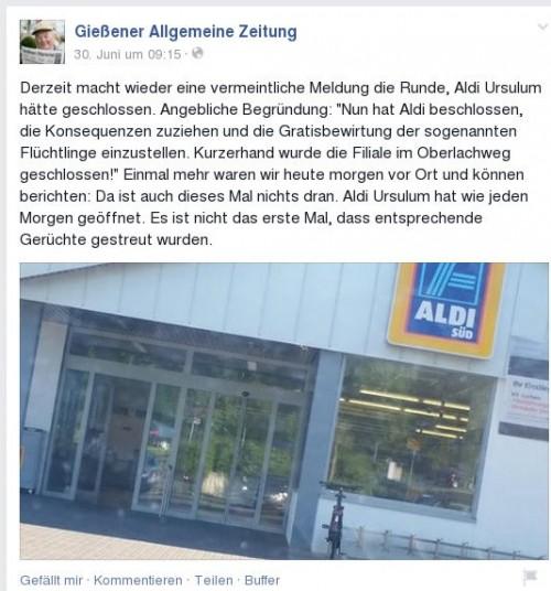 Facebookhinweis Gießener Allgemeine zu angeblicher Aldi-Schließung. Quelle: Facebook: GAZ.