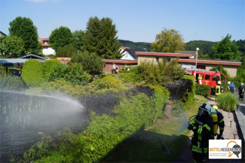 Schreck am Nachmittag: Eigentlich sollte nur ein Wespennest in einer Hecke in Fellingshausen ausgebrannt werden. Plötzlich brannte die Hecke und die Feuerwehr musste kommen. Foto: v. Gallera
