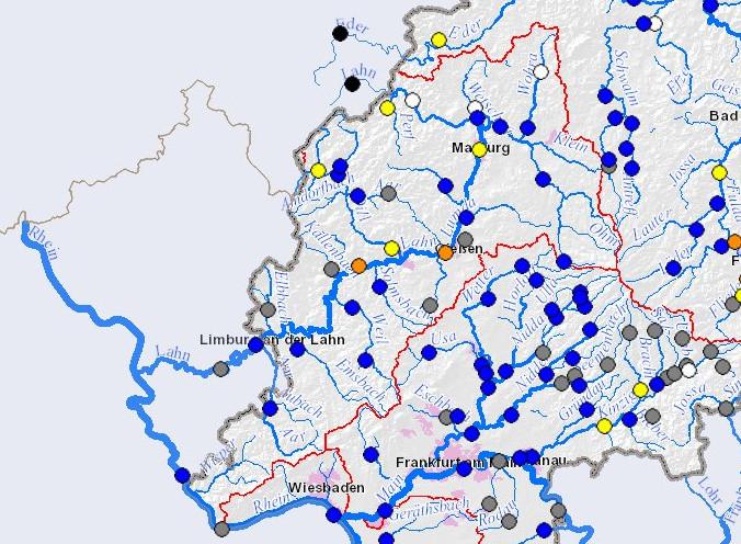 Um 2 Uhr morgens meldet das Hessische Landesamt für Umwelt und Geologie die Meldestufe 2 für Gießen und Leun. Die Lahn wird mit einem Hochwasserstand zwischen 5 und 6 Metern erwartet....Quelle Grafik: HLUG