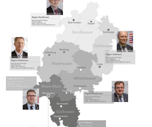 Mit Jahresbeginn 2016 taucht Mittelhessen in der hessischen Straßenbauverwaltung wieder auf. Aber anders als erwartet. Mit deutlich südöstlicher Ausrichtung an die Region Franken im benachbarten Bayern. Quelle: Hessen Mobil, Bearbeitung Mittelhessenblog