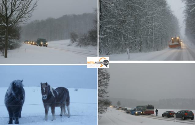 Schneehöhen von 20 Zentimetern, Streudienste im Dauereinsatz, Streusalzmangel. So präsentierte sich der Winter am 2. Februar vor sechs jahren in Mittelhessen. Fotos, Collage: v. Gallera