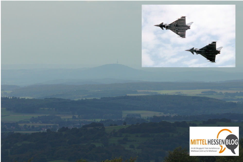 Zwei Eurofighter rissen Mittelhessen aus der Feierabendruhe. Bilder: v. Gallera/Wikipedia. Montage: Mittelhessenblog