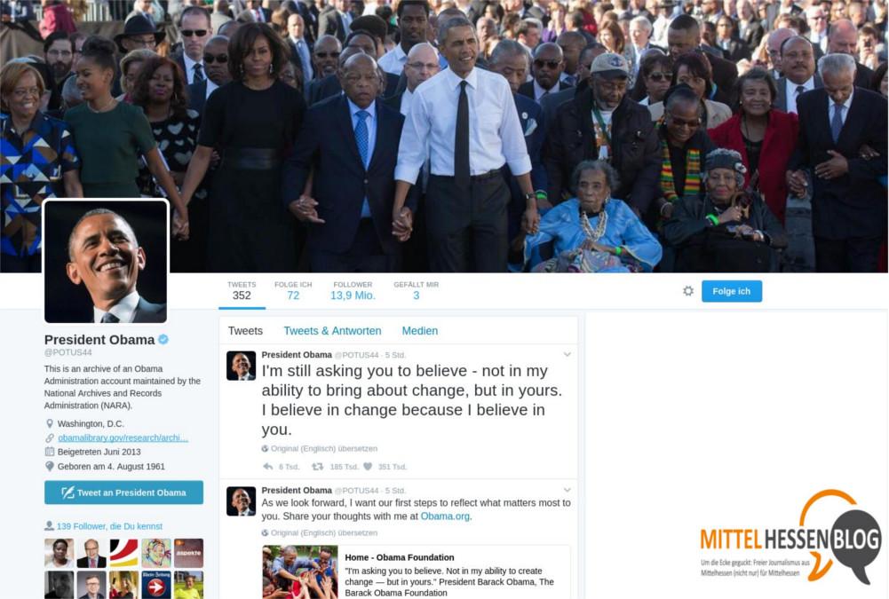 Um Social-Media-Aktivitäten für die Nachwelt zu speichern,hat Obama eine Archiv einrichten lassen...Quelle: Twitter. www.obamalibrary.gov/ Bearbeitung: Mittelhessenblog