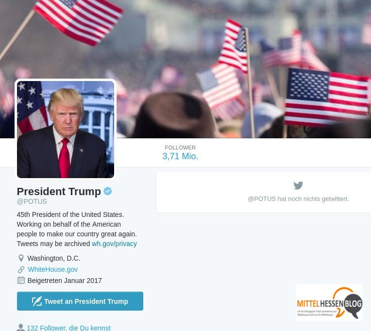 Er ist der 45. Präsident der USA. Donald Trump. Sein offizieller Account bei Twitter wirkt noch brach...Quelle: Twitter/WhiteHouse.gov Bearbeitung: Mittelhessenblog