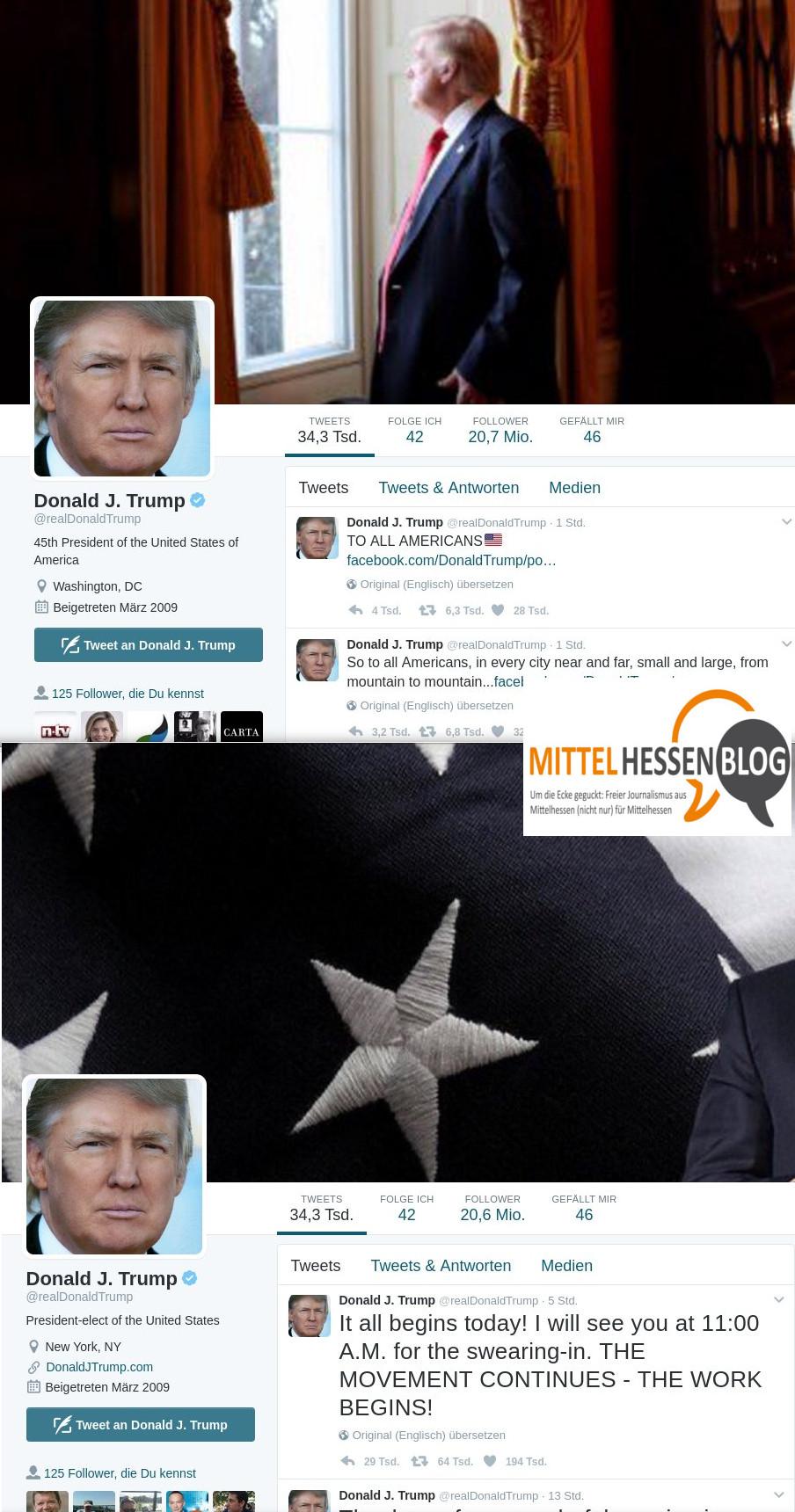 Der 45. US-Präsident setzt bei Twitter auf Tradition: Er nutzt den real Donald-Account weiter....Quelle: Twitter. Donald Trump