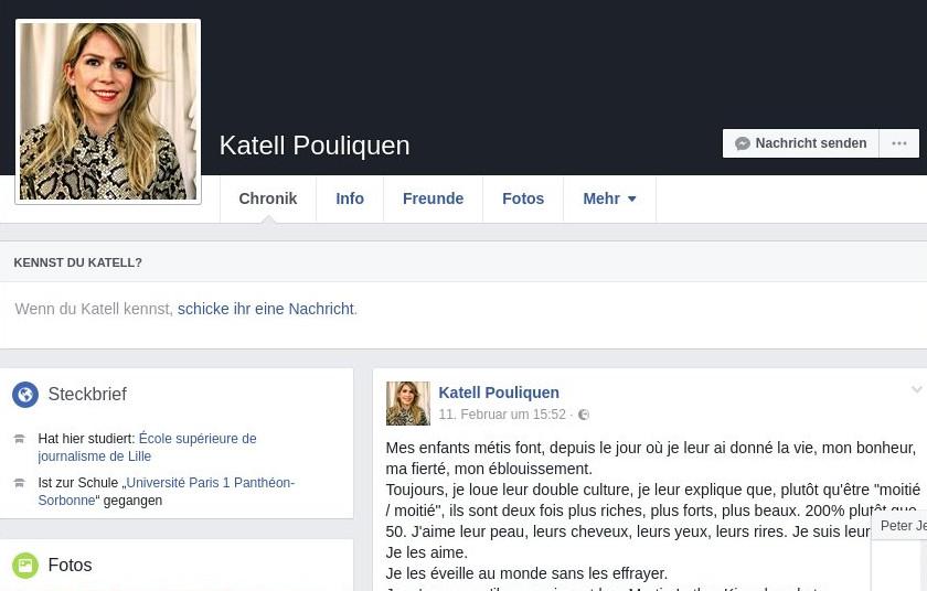 Auf ihrem Facebook-Profil fragt Katell Pouliquen,ob sie sich 2017 in Frankreich,überhaupt in Europa Sorgen machen muss,weil ihre Kinder eine andere Hautfarbe haben. Quelle: Screenshot FB-Profil Pouliquen