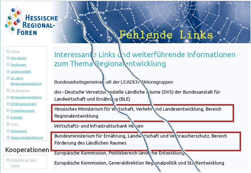 Die Interessanten Links sind teilsweise fehlende Links: Quelle : Hessische Regionalforen. Bearbeitung: v. Gallera, Mittelhessenblog.de
